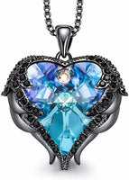 *Mothers Day Gift Blue Heart Pendant Necklace Gift for Wife Girlfriend Mom Her
