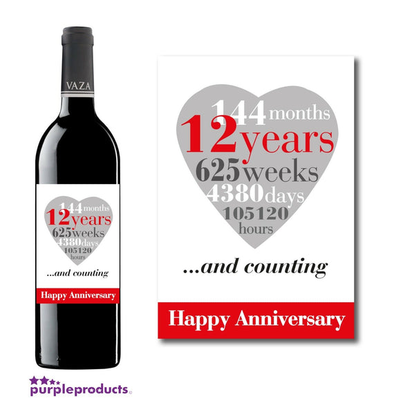 12th Wedding Anniversary, 12 Years Wine, Champagne Bottle Label Gift for Couple