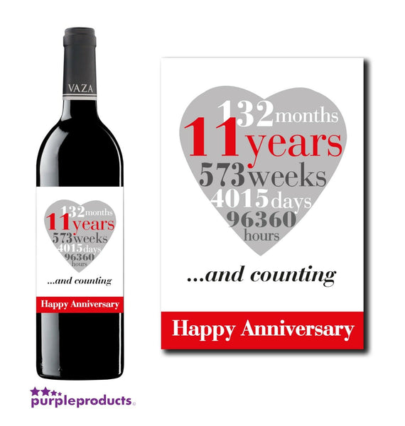 11th Wedding Anniversary, 11 Years Wine, Champagne Bottle Label Gift for Couple