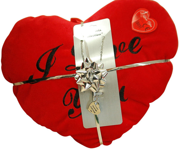'Forever And A Day..'Pendant & Red Heart Cushion Valentines Day Gift Set for Her