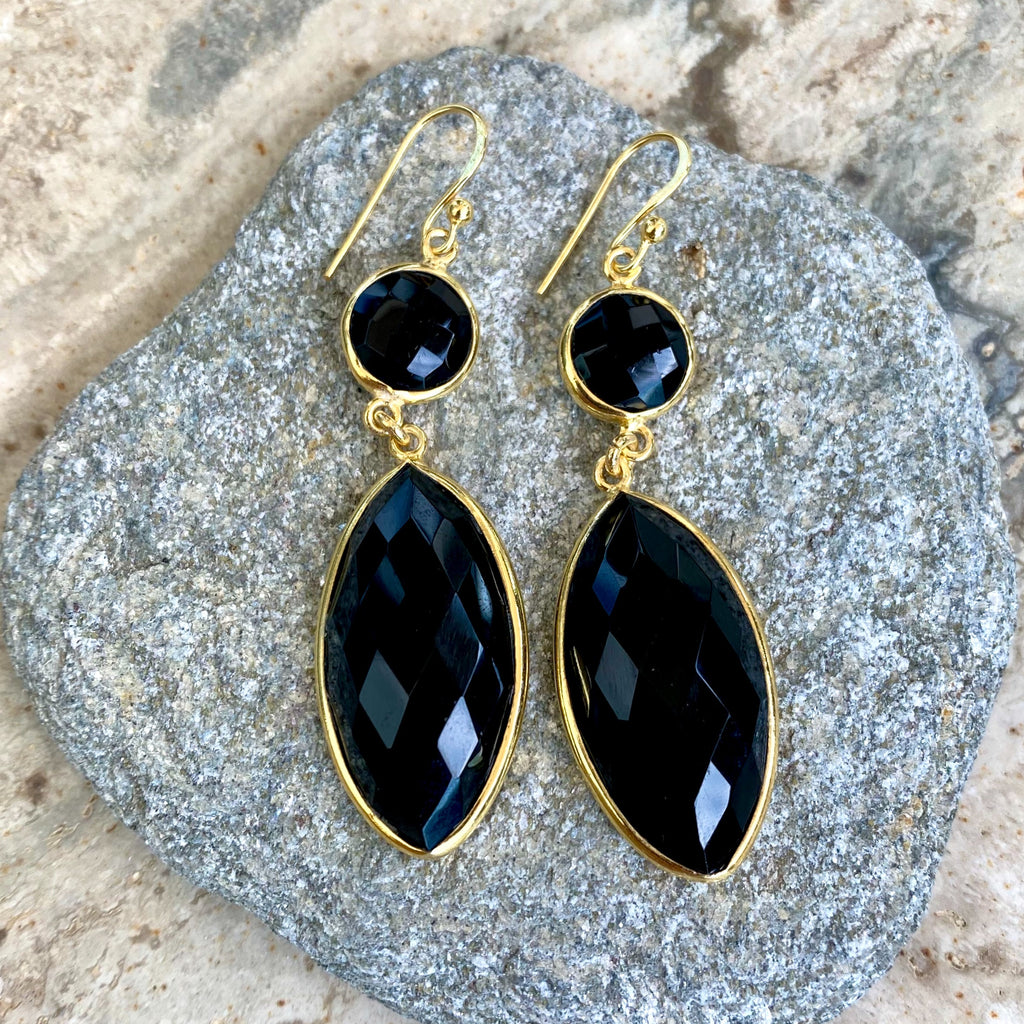 Lakshmi Goddess Black Onyx Earrings