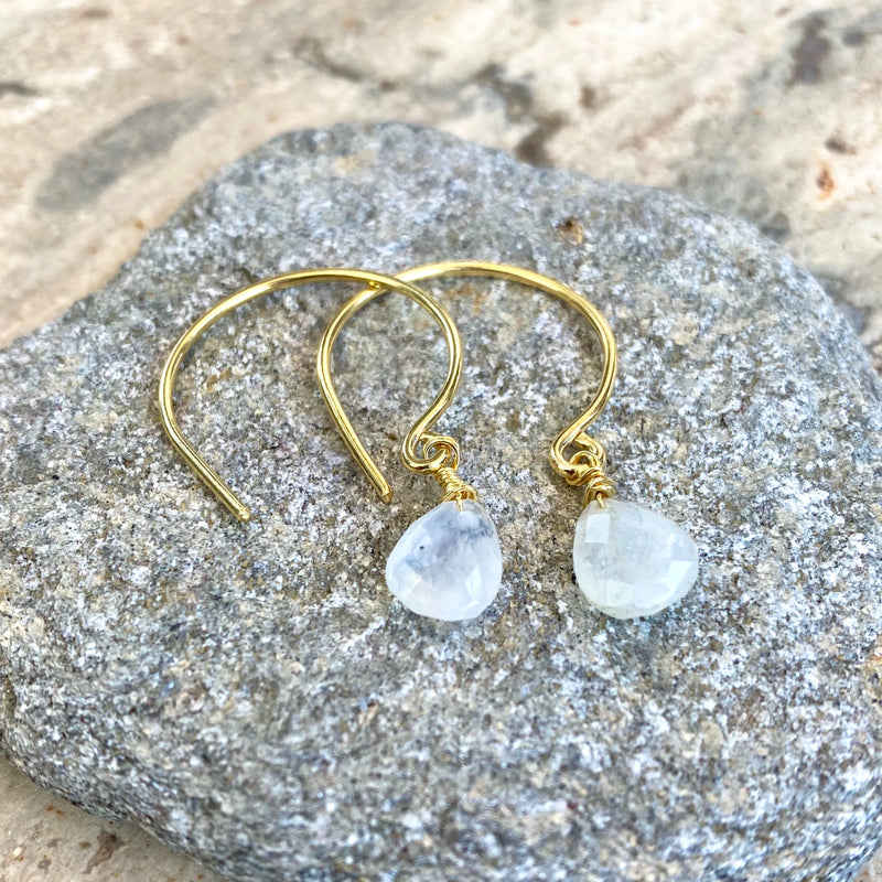 Rainbow Moonstone Gem Drop Earrings
