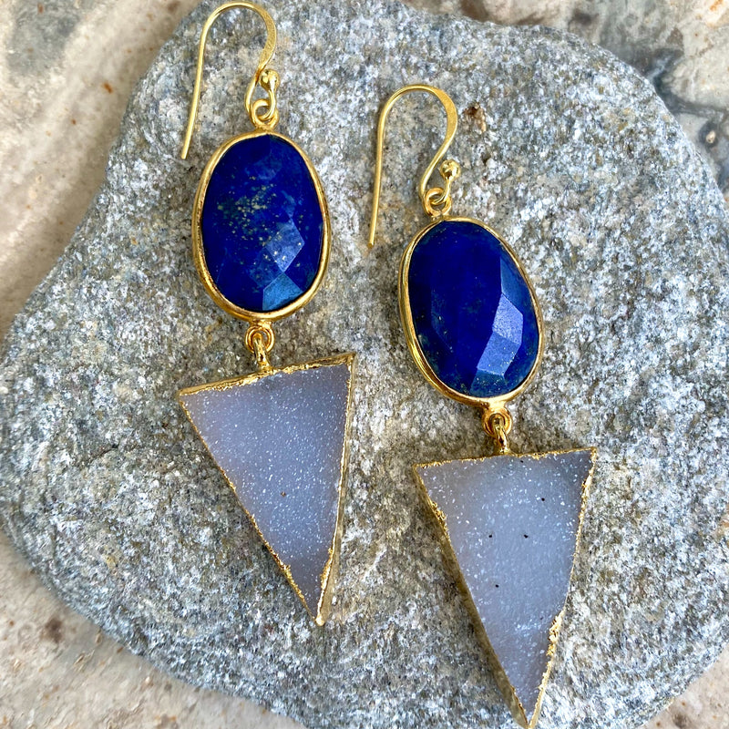 Celestial Blue Lapis Druzy Earrings