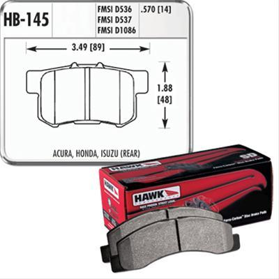 Hawk HP Plus Rear Brake Pads (00 - 09 Honda S2000 + others) HB145N.570-Brake Pads-Hawk-Hawk, Honda S2000, Rear Brake Pad-Tatis Motorsports