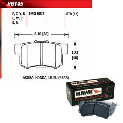 Hawk HT-10 Rear Brake Pads (00 - 09 Honda S2000 + others) HB145S.570-Brake Pads-Hawk-Hawk, Honda S2000, Rear Brake Pad-Tatis Motorsports