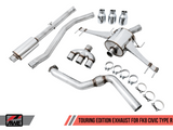 AWE Tuning - AWE Tuning Touring Edition Exhaust for FK8 Civic Type R (includes Front Pipe) - Triple Chrome Silver Tips 3015-52004 - Exhaust -AWE Tuning, Exhaust, Honda Civic Type R FK8 - 3015-52004 - Tatis Motorsports