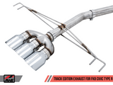 AWE Tuning Track Edition Exhaust for FK8 Civic Type R (includes Front Pipe) - Triple Diamond Black Tips 3020-53002-Exhaust-AWE Tuning-AWE Tuning, Exhaust, Honda Civic Type R FK8-Tatis Motorsports