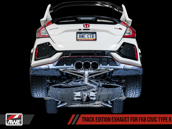 AWE Tuning - AWE Tuning Track Edition Exhaust for FK8 Civic Type R (includes Front Pipe) - Triple Chrome Silver Tips 3020-52000 - Exhaust -AWE Tuning, Exhaust, Honda Civic Type R FK8 - 3020-52000 - Tatis Motorsports