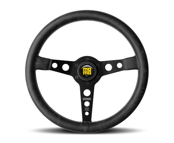 Momo Prototipo Heritage Black Leather, White Stitching, Black Spoke PRH35BK2B-Steering Wheel-Momo-Momo, Porsche, Steering Wheels & Accessories-Tatis Motorsports
