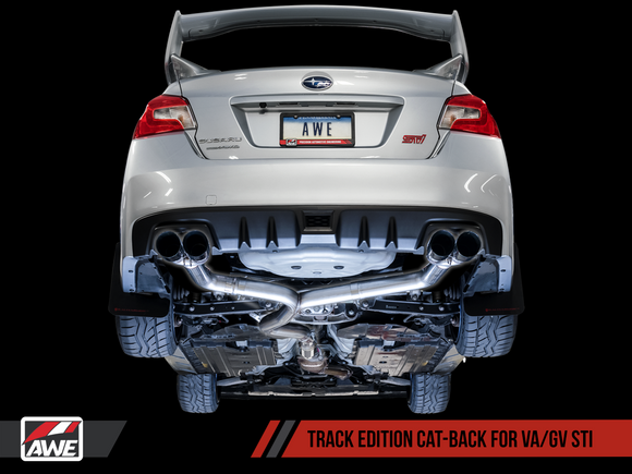 AWE Tuning Track Edition Exhaust for EJ25-Equipped Subaru WRX/STI Diamond Black Quad Tips (102mm) 3020-43066-Exhaust-AWE Tuning-AWE Tuning, Exhaust, Subaru Impreza WRX, Subaru Impreza WRX STI-Tatis Motorsports
