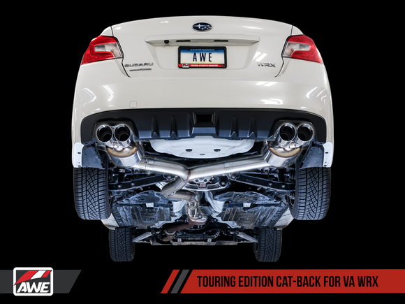AWE Tuning - AWE Touring Edition Exhaust for 2015+ VA WRX Sedan - Chrome Silver Quad Tips (102mm) 3015-42098 - Exhaust -AWE Tuning, Exhaust, Subaru Impreza WRX - 3015-42098 - Tatis Motorsports