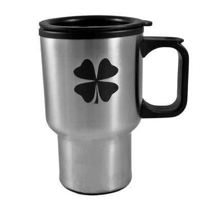 14oz Shamrock Four Leaf Clover Stainless Steel Travel Mug W/Handle L1