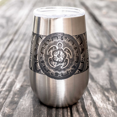 12oz - Tribal Turtle - SS Stemless Wine Glass