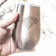 12oz - When the Snow Falls - SS Stemless Wine Glass