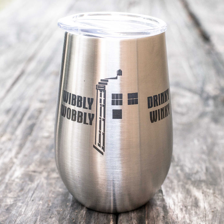 12oz - Wibbly Wobbly Drinky Winky- SS Stemless Wine Glass