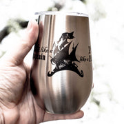 12oz - Work Like a Captain - Play Like a Pirate - SS Stemless Wine Glass