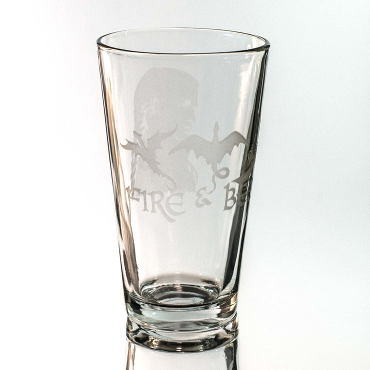 16oz GLASS Fire and Beer Glass