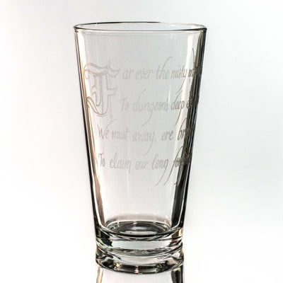16oz GLASS Misty Mountain Beer Glass