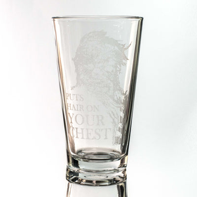 16oz GLASS Puts Hair on Your Chest Beer Glass