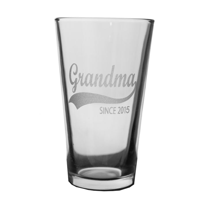 16oz Grandma Since 2014 Beer Glass