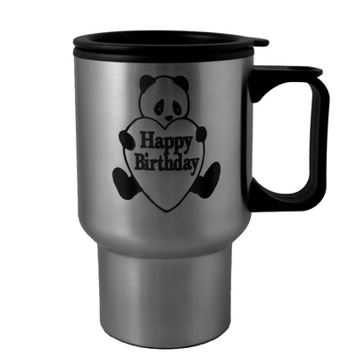 14oz Happy Birthday Panda stainless steel mug W/Handle Laser