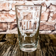 16oz Laurels with Initial Beer Glass