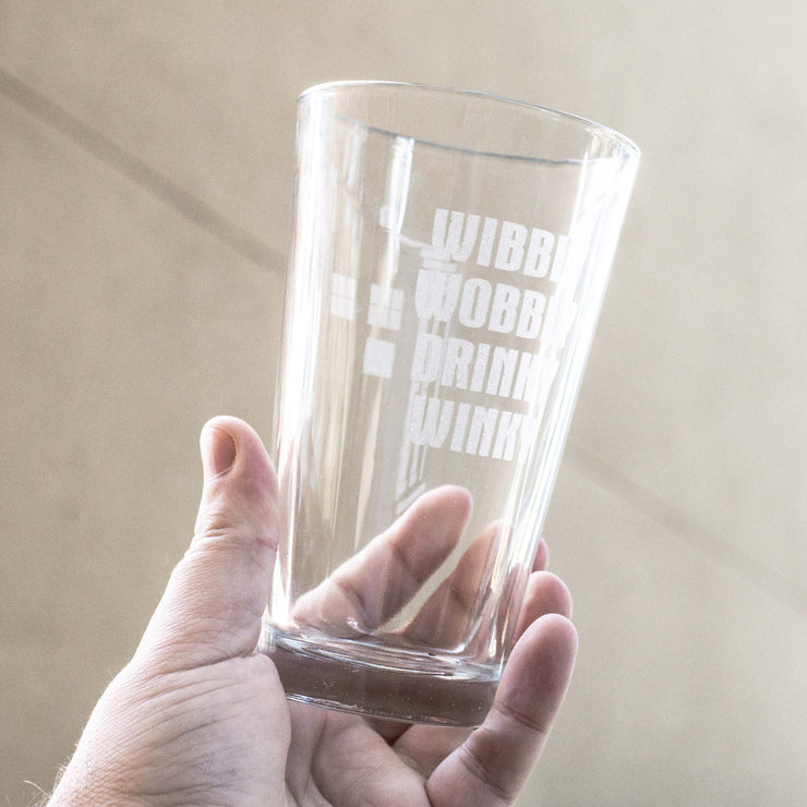 16oz Wibbly Wobbly Drinky Winky Beer Glass