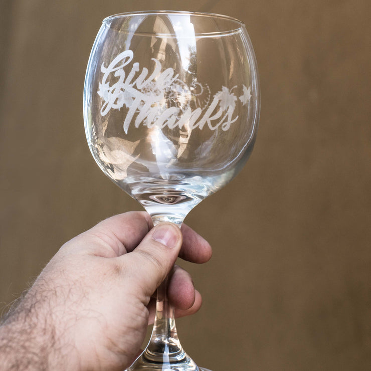 20oz Give Thanks Wine Glass L1