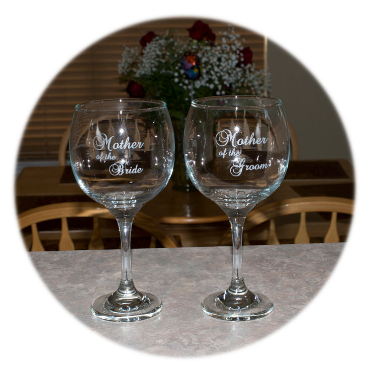 20oz Mother of the Bride & Mother of the Groom (2 wine glasses)
