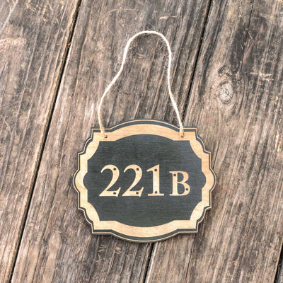 221b - Black Door Sign
