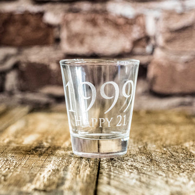 1999 Happy 21 Shot glass