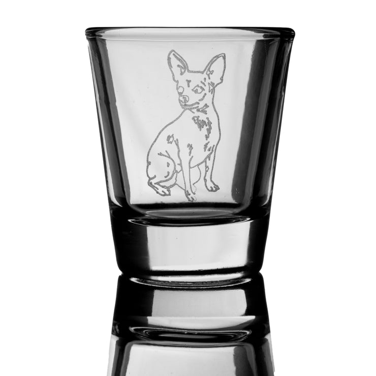 2oz Chihuahua 2 dog puppy Shot Glass
