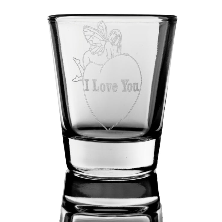 "2oz ""I Love You"" faerie on heart Shot Glass Fairy"