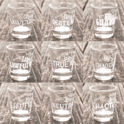 Know Your Role - Character Alignment - Set of 9 Shot Glasses