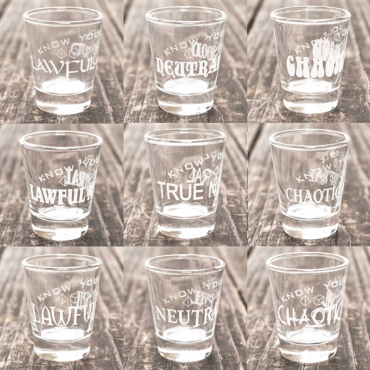 2oz Know Your Role - Character Alignment - Set of 9 Shot Glasses R1