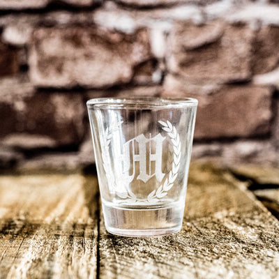 Laurel with Initial Custom Shot glass