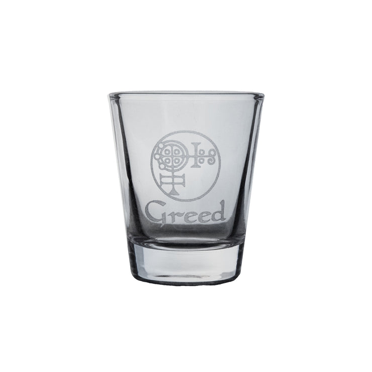 2oz Seven Deadly Sins GREED Shot Glass R1