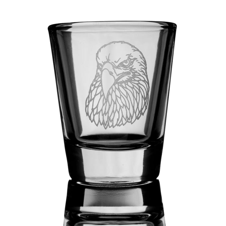 2oz Bald Eagle Detailed Shot glass Eagle Head