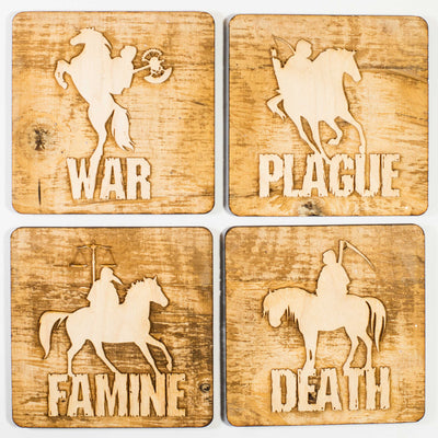 4 Horsemen Wood Coaster Set of four 4x4in Raw Wood
