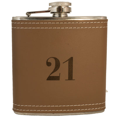 6oz 21 Leather Flask KLB