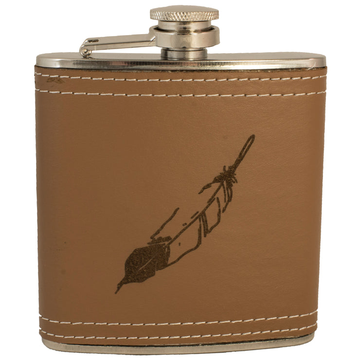 6oz Feather Leather Flask KLB