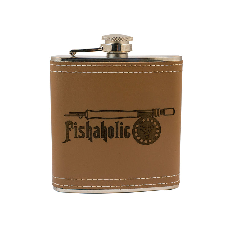 6oz Fishaholic Fly Fishing Leather Flask L1 KLB