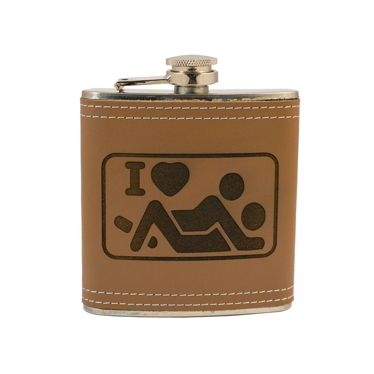 6oz I Love Action Leather Flask L1 KLB