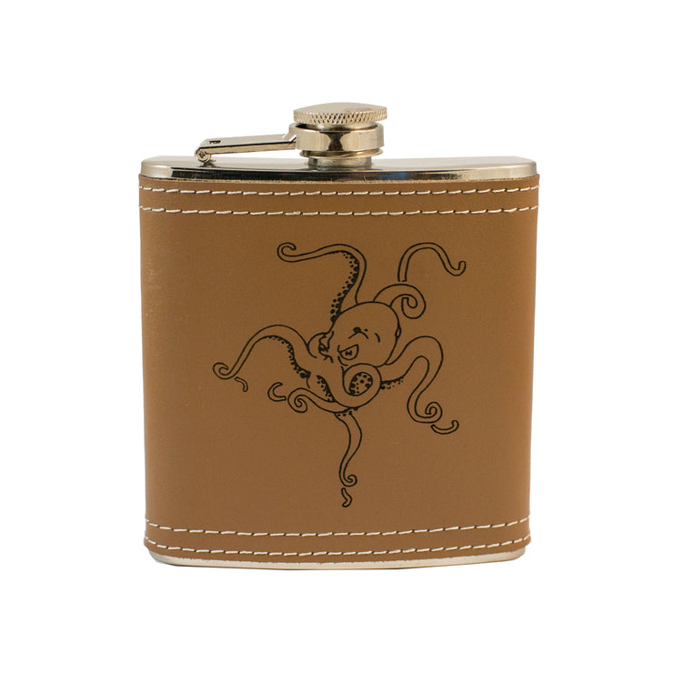 6oz Octopus Leather Flask L1 KLB
