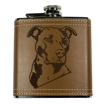 6oz Pitbull Leather Flask KLB
