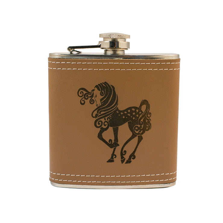 6oz Pretty Pony Leather Flask L1 KLB