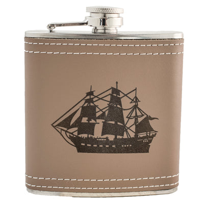 6oz Ship Leather Flask KLB L1