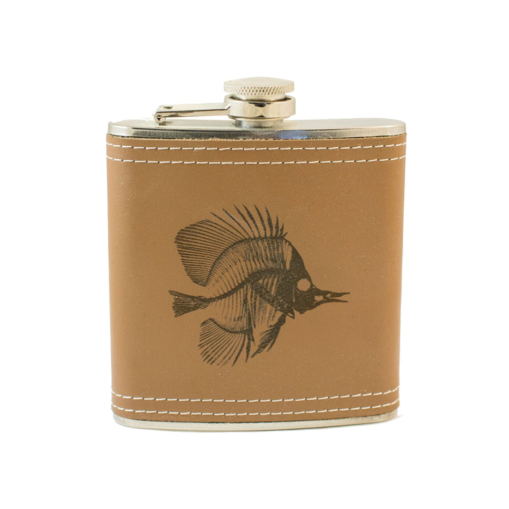 6oz Tropical Bone Fish Leather Flask KLB L1