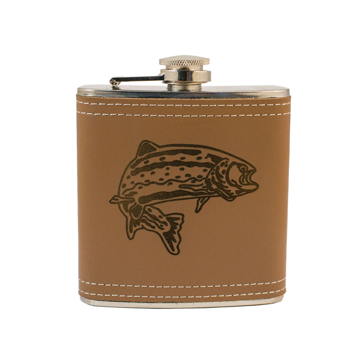 6oz Trout Leather Flask L1 KLB