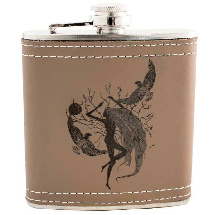 6oz Whispering Winds Leather Flask KLB L1